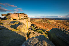 View from Stanage Edge. Located in the Peak District National Park in England, Stanage Edge is the largest of the gritstone edges that overlook Hathersage in Royalty Free Stock Photo