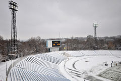 View on the stands in the snow Royalty Free Stock Image