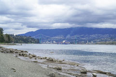 View from Stanley Park over Lionsgate Bridge - VANCOUVER - CANADA - APRIL 12, 2017 Stock Image