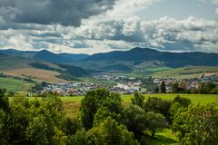 The view from the Stara Lubovna Castle, Slovakia. The mountain view from the Stara Lubovna Castle, Slovakia stock image