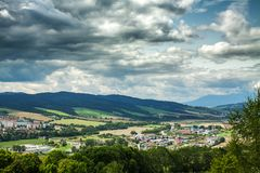 The view from the Stara Lubovna Castle, Slovakia. The mountain view from the Stara Lubovna Castle, Slovakia royalty free stock image