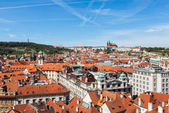 View of Stare Mesto (Old City) and and St. Vitus Cathedral Stock Photos
