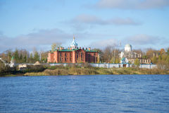 View Staroladozhsky Holy Assumption Nunnery from the right bank of the river Volkhov. Staraya Ladoga, Russia Royalty Free Stock Image