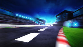 View of the start finish line and paddock on the racetrack Royalty Free Stock Image