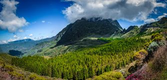 Panorama of the Mafatte Cirque. View from the start of the mafatte Cirque, La reunion. One of the best hikes in the world stock images