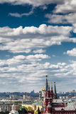 View of the State Historical Museum of the morning with cumulus clouds Stock Photo
