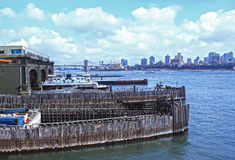 View from Staten Island docks. With Manhattan in background. New York, USA Royalty Free Stock Image