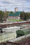View of  station from footbridge. Kandalaksha Royalty Free Stock Photo