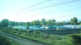 View out from a Window of a Train Moving Forward stock footage