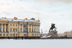 View of the statue  the Bronze Horseman in Saint Petersburg Stock Images