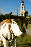 View of the statue of a cow from the festival of cows Royalty Free Stock Image