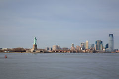 View of Statue of Liberty and Manhattan Stock Photos