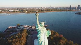 View of statue of liberty, usa. View of statue of liberty, camera moves down, usa stock video