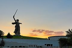 View on the statue named The Motherland Calls on Mamayev Kurgan. Volgograd, Russia - July 11 2018: View on the statue named The Motherland Calls on Mamayev royalty free stock image