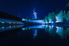 View on the statue named The Motherland Calls on Mamayev Kurgan. Volgograd, Russia - July 11 2018: View on the statue named The Motherland Calls on Mamayev royalty free stock photography