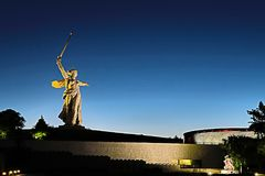 View on the statue named The Motherland Calls on Mamayev Kurgan. Volgograd, Russia - July 11 2018: View on the statue named The Motherland Calls on Mamayev stock image