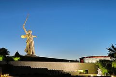 View on the statue named The Motherland Calls on Mamayev Kurgan. Volgograd, Russia - July 11 2018: View on the statue named The Motherland Calls on Mamayev royalty free stock images