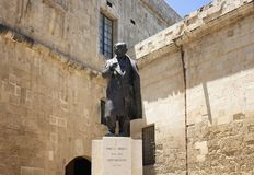 View of statue of Pawlu Boffa, Maltese Prime Minister 1947 to 19 Royalty Free Stock Photo