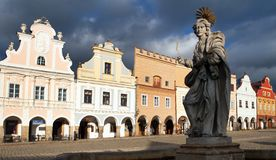 View of statue of st. Margaret on Telc or Teltsch town Royalty Free Stock Photo