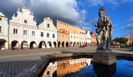 View of statue of st. Margaret on Telc or Teltsch town Stock Image