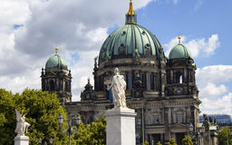 View of statues in front of Berliner Dom. Stock Photo