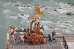 View of statues in hinduist temple Shri Makar Vahani Ganga Jee and Sita Ram Dham Ashram on the riverbank of Ganga in Rishikesh Royalty Free Stock Photo
