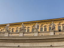 View of statues of the saints apostles on the top of St Peter Ba Royalty Free Stock Image