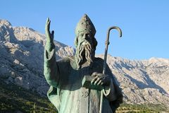 View of staue in Croatia. Statue of St. Nicholas in Baška Voda, Croatia stock images