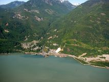 View of Stawamus Chief and town of Squamish, BC, Canada royalty free stock photography