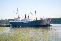 A view of the steamer Salama at the Museum of the ancient ships of the august evening Royalty Free Stock Image