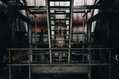 Steel Staircase - Abandoned Coal Power Plant - New York stock photography