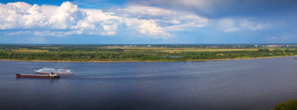 View from the steep banks of the Volga Royalty Free Stock Photography