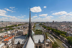 View of Steeple of Notre Dame looking over Paris Stock Photos
