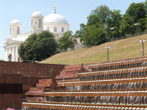 View of the step fountain and cathedral of Saint Alexander. Kiev Royalty Free Stock Images