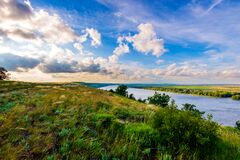 View of steppe and upper area river Don in Russia