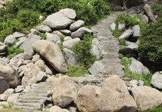 View of steps leading up a hill Royalty Free Stock Photos