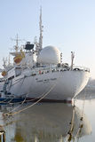View of a stern of the Astronaut Victor Patsayev research vessel. Kaliningrad, Russia Stock Image