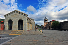 View of Stevitskhoveli monastery and city square Royalty Free Stock Photography