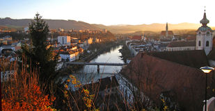The view on Steyr city, Austria Stock Photos