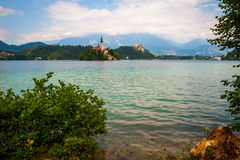 View on still lake Bled, Slovenia Royalty Free Stock Photos