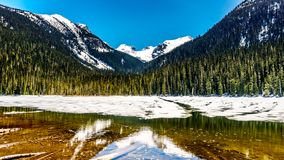 View of the still partly frozen Lower Joffre Lake in the Coast Mountain Range Royalty Free Stock Images