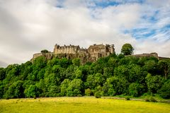 A view of Stirling Castle on top of the rocky hill in central Scotland Royalty Free Stock Photos