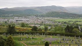 View of Stirling Scotland UK countryside and town from the famous castle stock footage