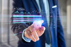 Stock exchange trading data information displayed on a futuristic interface. View of a Stock exchange trading data information displayed on a futuristic stock photography