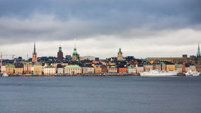 View of Stockholm city Galma Stan from sea Royalty Free Stock Photo
