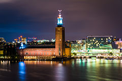 View of Stockholm City Hall at night, from Monteliusvägen, in S Royalty Free Stock Images