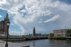 View of Stockholm city hall, Strömsborg Island and the Norstedt house royalty free stock image