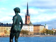 View of stockholm city. Sculpture in the town hall and city wiev royalty free stock image