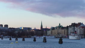 View of Stockholm`s harbor stock footage