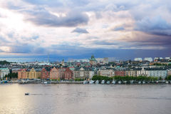 View at Stockholm`s old houses at twilight. Stock Images
